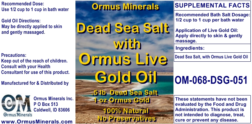 Ormus Minerals Dead Sea Salt & Ormus Gold Oil Bath and Skin Gift Set