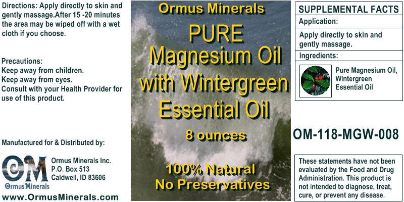 Ormus Minerals Magnesium OIl with Wintergreen Essential Oil