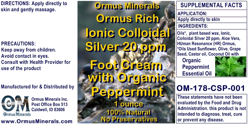 Ormus Minerals Ormus Rich Ionic Colloidal Silver Foot Cream with Organic Peppermint