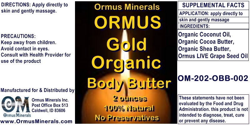 Ormus Minerals Ormus Gold Organic Body Butter